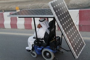 Rear view of solar-powered wheelchair