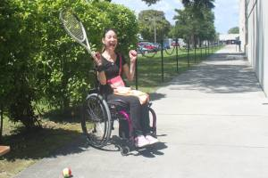 Marka Danielle having fun using the quad grip for playing tennis
