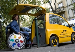 Kenguru vehicle allows people with disabilities to drive directly from their wheelchairs.