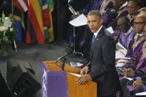 President Obama delivering the eulogy.