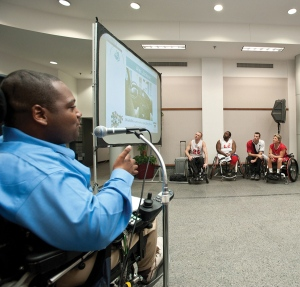 Speaking at a disability awareness event at SPAWAR