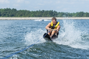 Dewitt Floyd water skiing on Lake Moultrie. Photo: Laird Nelson Photography