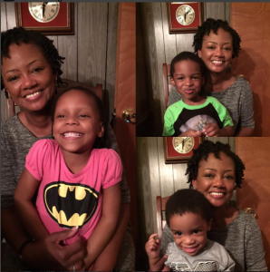 Left: Aunt Kathy with Camille; Top: with Jeremiah; Bottom: with Kamden