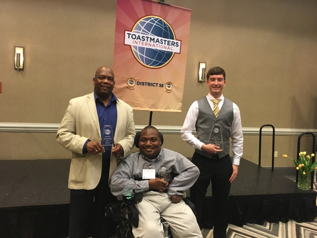 Table Topics Winners: 1st place -Tyler Gear (right); 2nd place - William Ratliff (left); 3rd place - Alex Jackson (center)